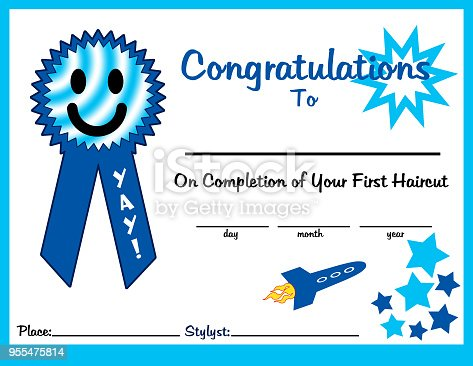 First Haircut Certificate 11 X 85 Boy For Print Stock Vector Art ...