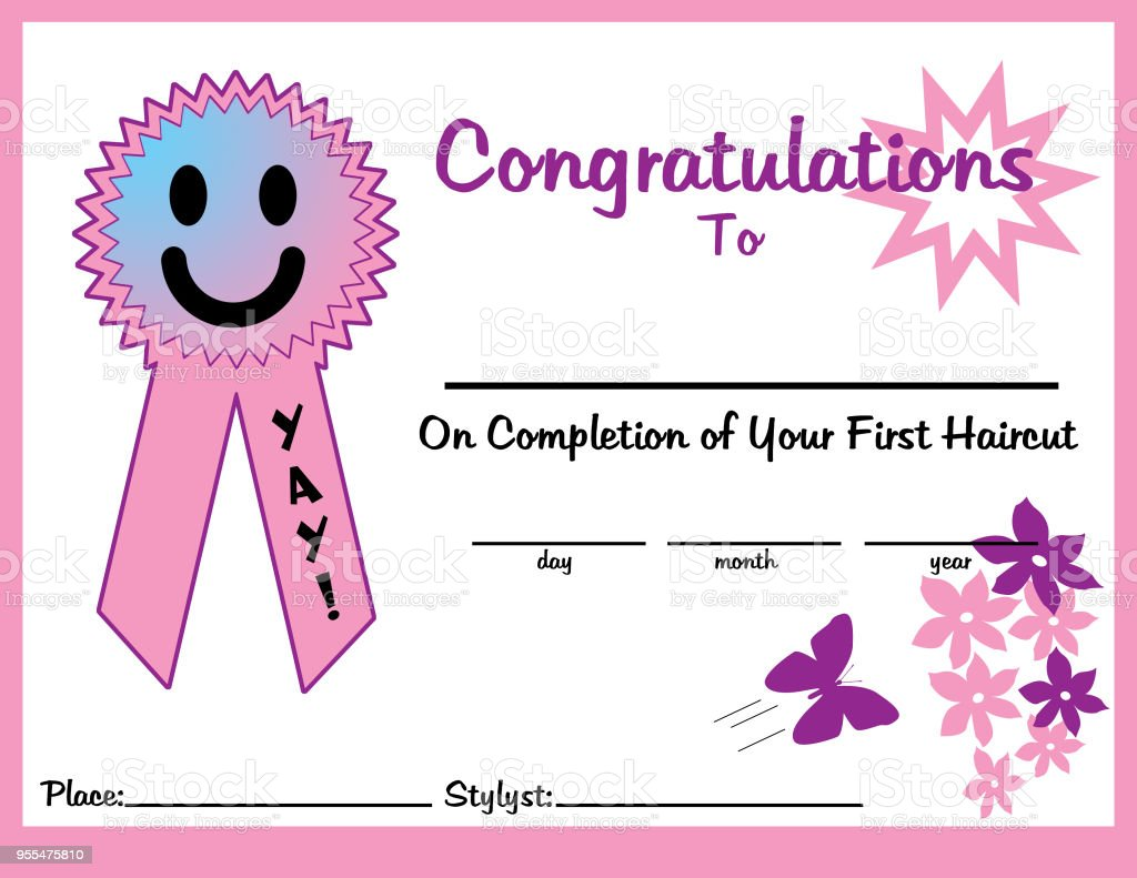 first haircut certificate 11 x 85 girl for print royalty free