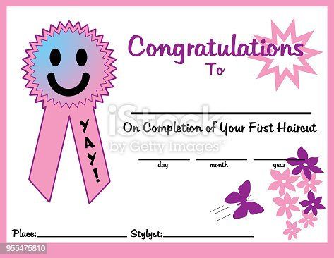 First Haircut Certificate 11 X 85 Girl For Print Stock Vector Art ...