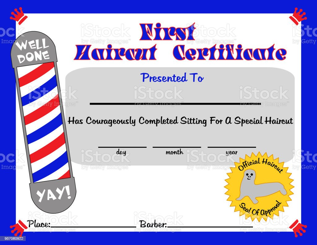 First Haircut Certificate For Young Boy Stock Vector Art More