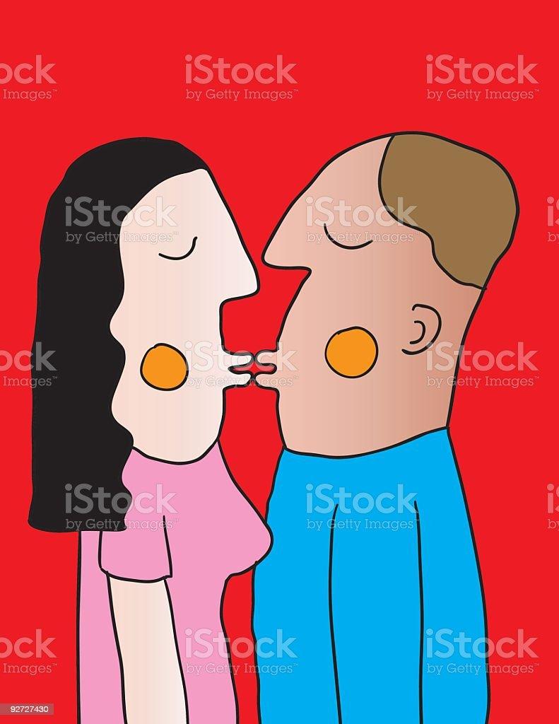 first kiss vector art illustration