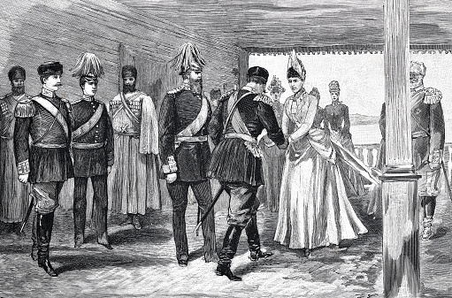 First Meeting of German Kaiser Wilhelm II with the empress of  Russia