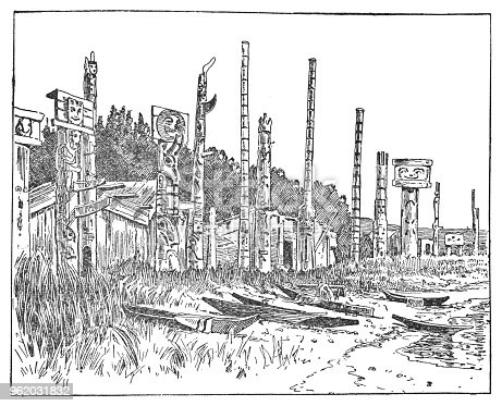 First Nations village with totem poles in British Columbia, Canada. Vintage etching circa late 19th century.