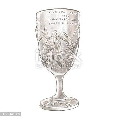 First olympic cup. Hand drawn illustration.