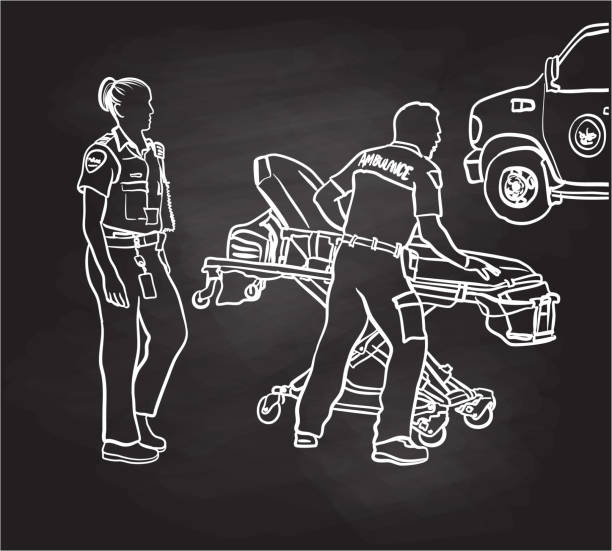 first responders on the run chalkboard - first responders stock illustrations
