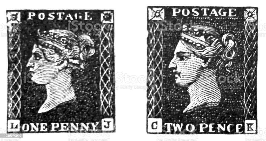 First stamp one penny in England vector art illustration