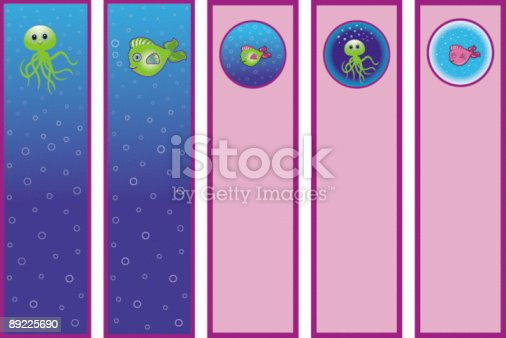 istock Fish and octopus bookmark signets avec poissons et pieuvres. 89225690
