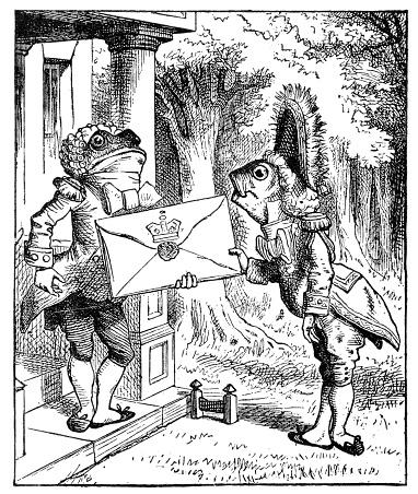 Fish delivering a letter to a frog - Alice in Wonderland 1897