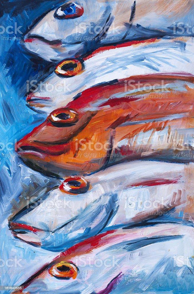Fish heads vector art illustration