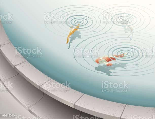 Fish In Fountain Pool-vektorgrafik och fler bilder på Cirkel