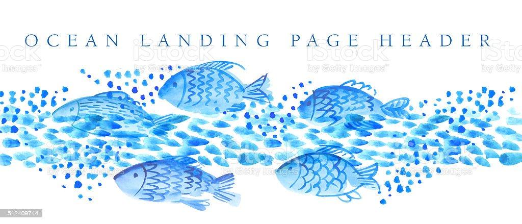 Poissons dans la mer image en-tête de la page de renvoi - Illustration vectorielle
