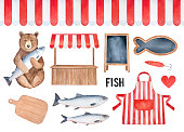 Fish Market Element Set. Seamless striped awning, traditional street stall, merchant apron, wood cutting board, blackboard signs. Hand drawn watercolour graphic, isolated clipart for creative design.