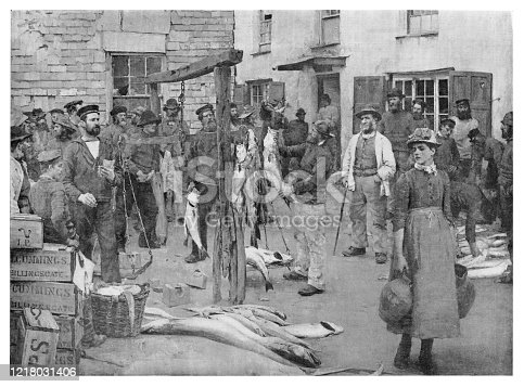 Fish Market - Scanned 1894 Engraving