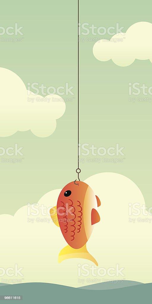 Fische am Haken - Lizenzfrei Angelhaken Vektorgrafik