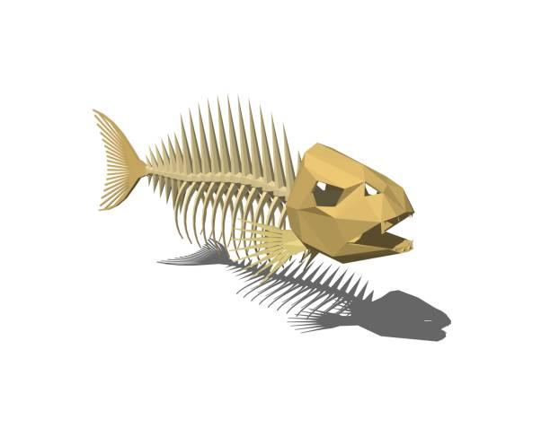 魚の骨格。白い背景上に分離。3 d レンダリングの図。 - 魚の骨点のイラスト素材/クリップアート素材/マンガ素材/アイコン素材