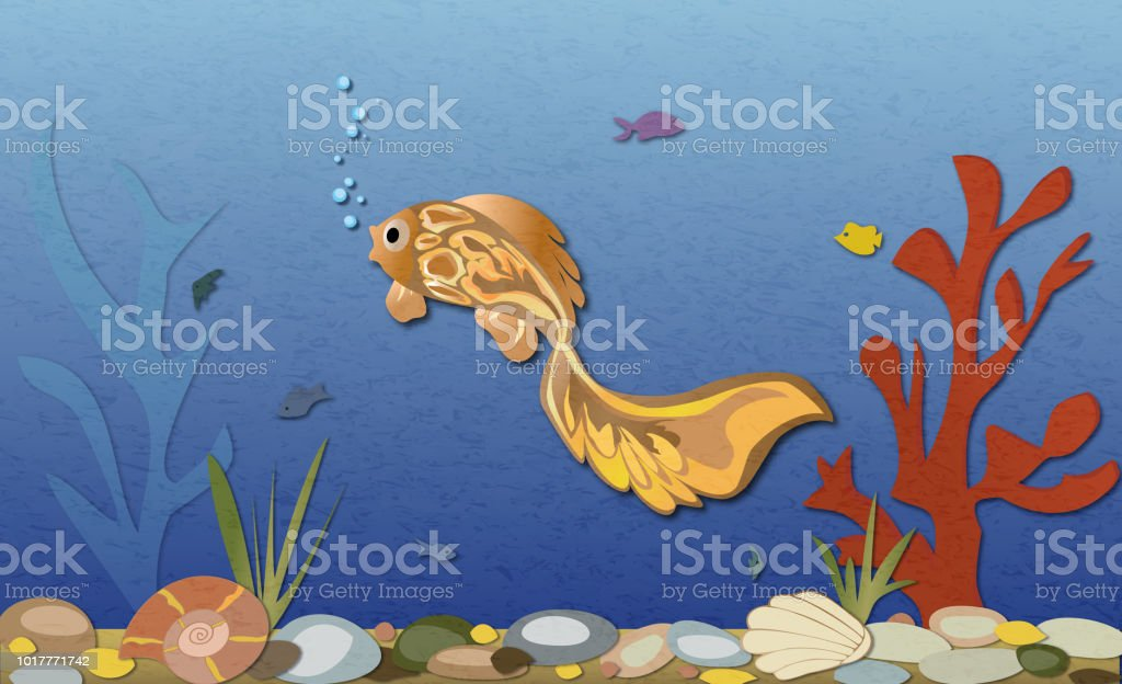 Fish swimming in sea, seabed with shells and corals. vector art illustration