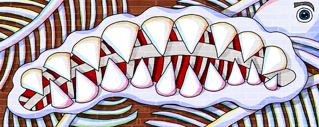 fish tooth and fishbone creative design wall paint