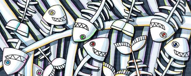 fishbone creative design paint