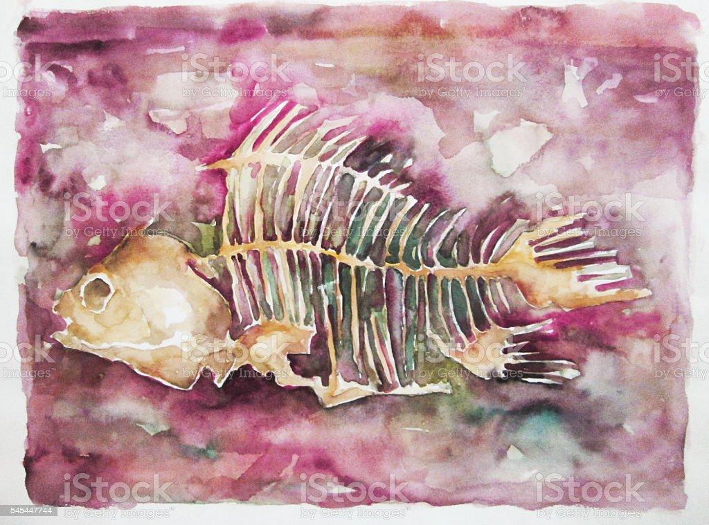 Fishbone vector art illustration