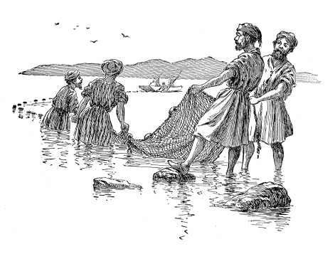 Fisherman Drawing Their Nets - 19th Century Engraving