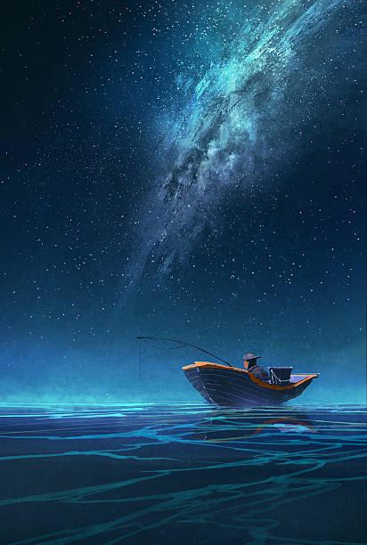 fischer in einem boot bei nacht unter der milchstraße - milky way stock-grafiken, -clipart, -cartoons und -symbole
