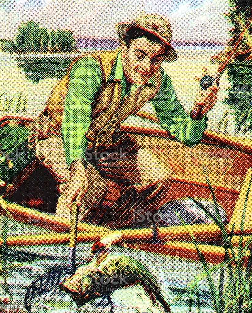 Fisherman in a Boat royalty-free stock vector art
