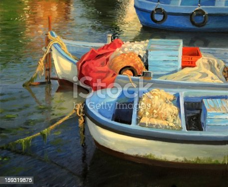 An oil painting on canvas of a scene with colorful fishing boats in the harbor, ready to sail away and vibrant water reflections over the calm water surface.