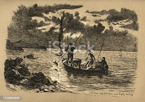 Vintage engraving of Fishermen hunting lobsters at night, Newfoundland, Canada, Victorian, 19th Century. It was capital fun and highly exciting