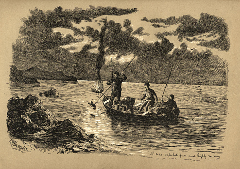 Fishermen hunting lobsters at night, Newfoundland, Canada, Victorian, 19th Century