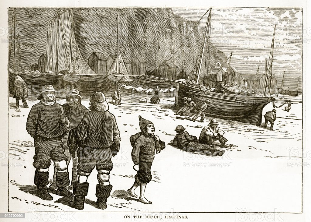 Fishermen on the Beach in Hastings, England Victorian Engraving vector art illustration