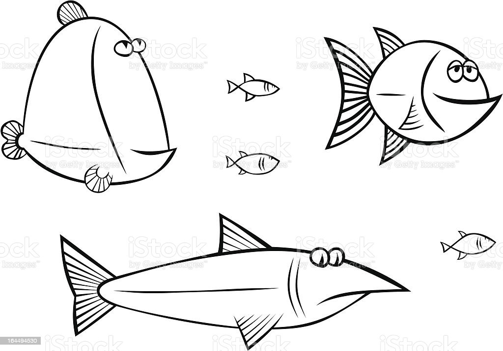 fishes in the sea vector art illustration