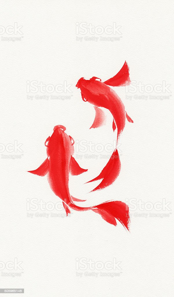 Fishes watercolor painting vector art illustration