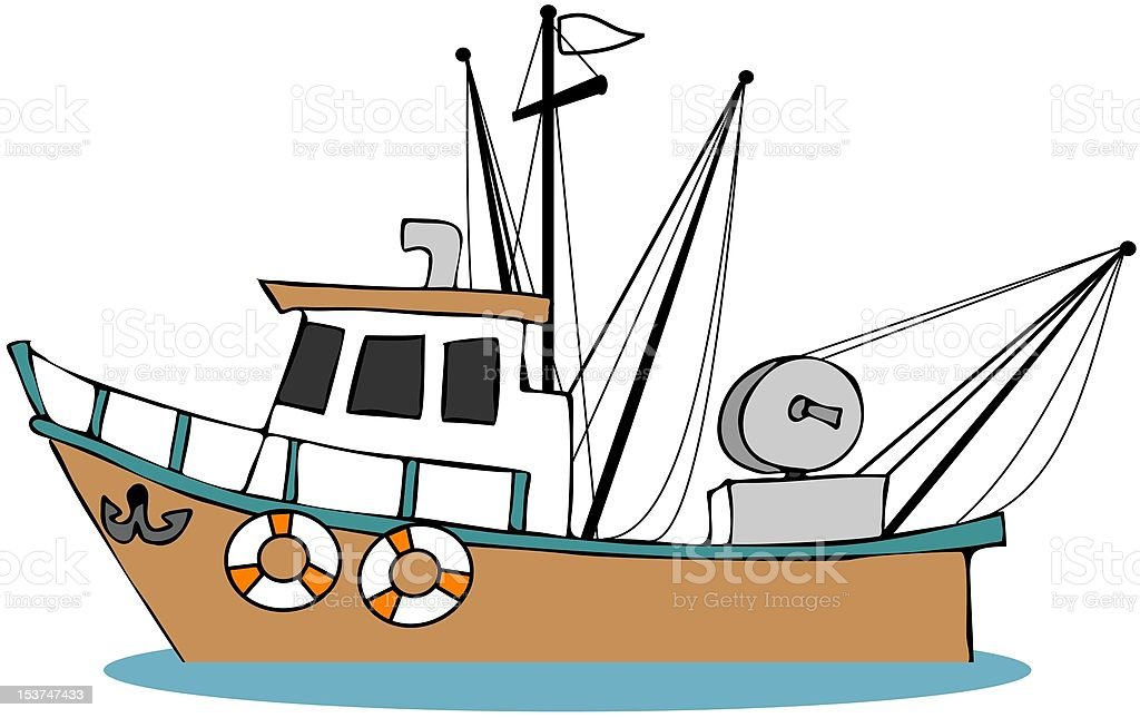 fishing boat stock vector art more images of anchor vessel part rh istockphoto com Shrimp Boat Silhouette Shrimp Boat Drawings