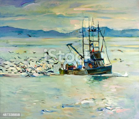 Original oil painting of  fishing boat(ship) in ocean surrounded by seagulls on canvas.Modern Impressionism