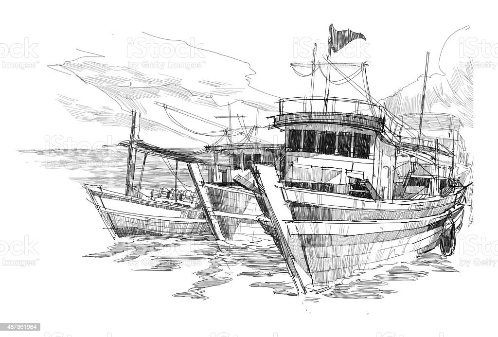 fishing boats in a harbor sketch vector art illustration