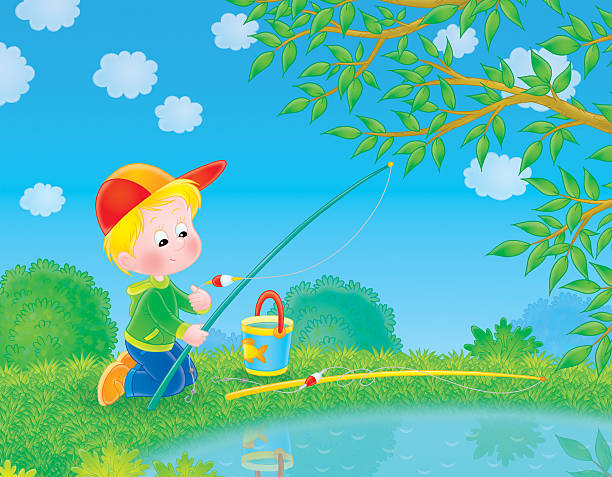 Fishing boy vector art illustration