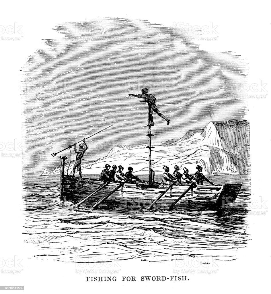 Fishing for Swordfish royalty-free stock vector art
