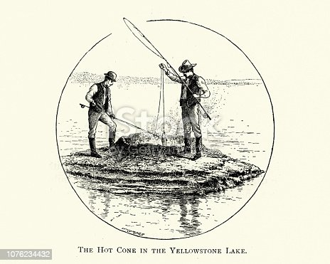 Vintage engraving of men Fishing through a Hot Cone in Yellowstone Lake, 19th Century. In winter, ice nearly 3 ft (0.91 m) thick covers much of the lake except where shallow water covers hot springs.