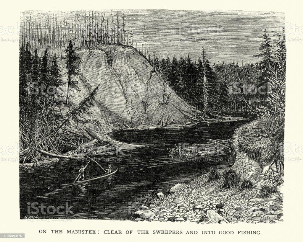 Fishing on the Manistee River, Michigan, 19th Century vector art illustration