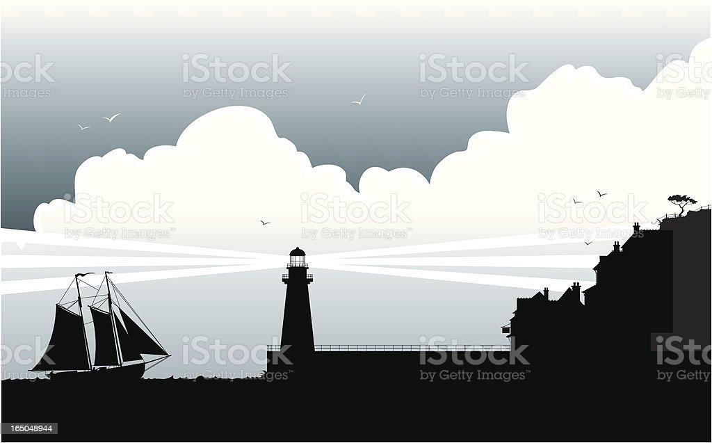 Fishing village vector art illustration