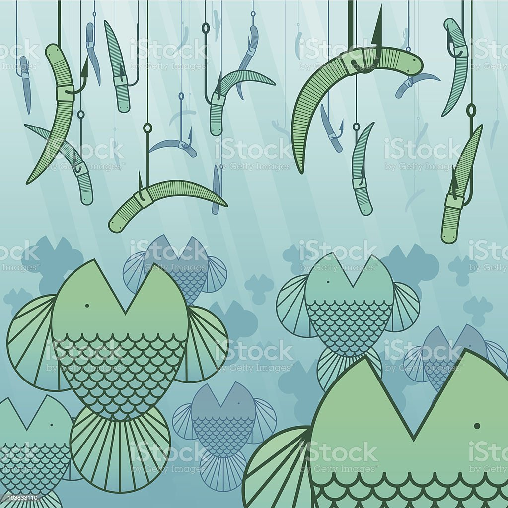 Fishing with worms royalty-free stock vector art