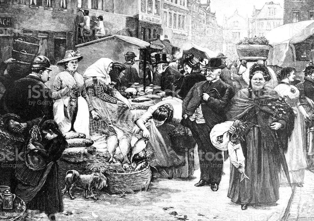 Fishmarket in Düsseldorf - Royalty-free 1890-1899 stock illustration