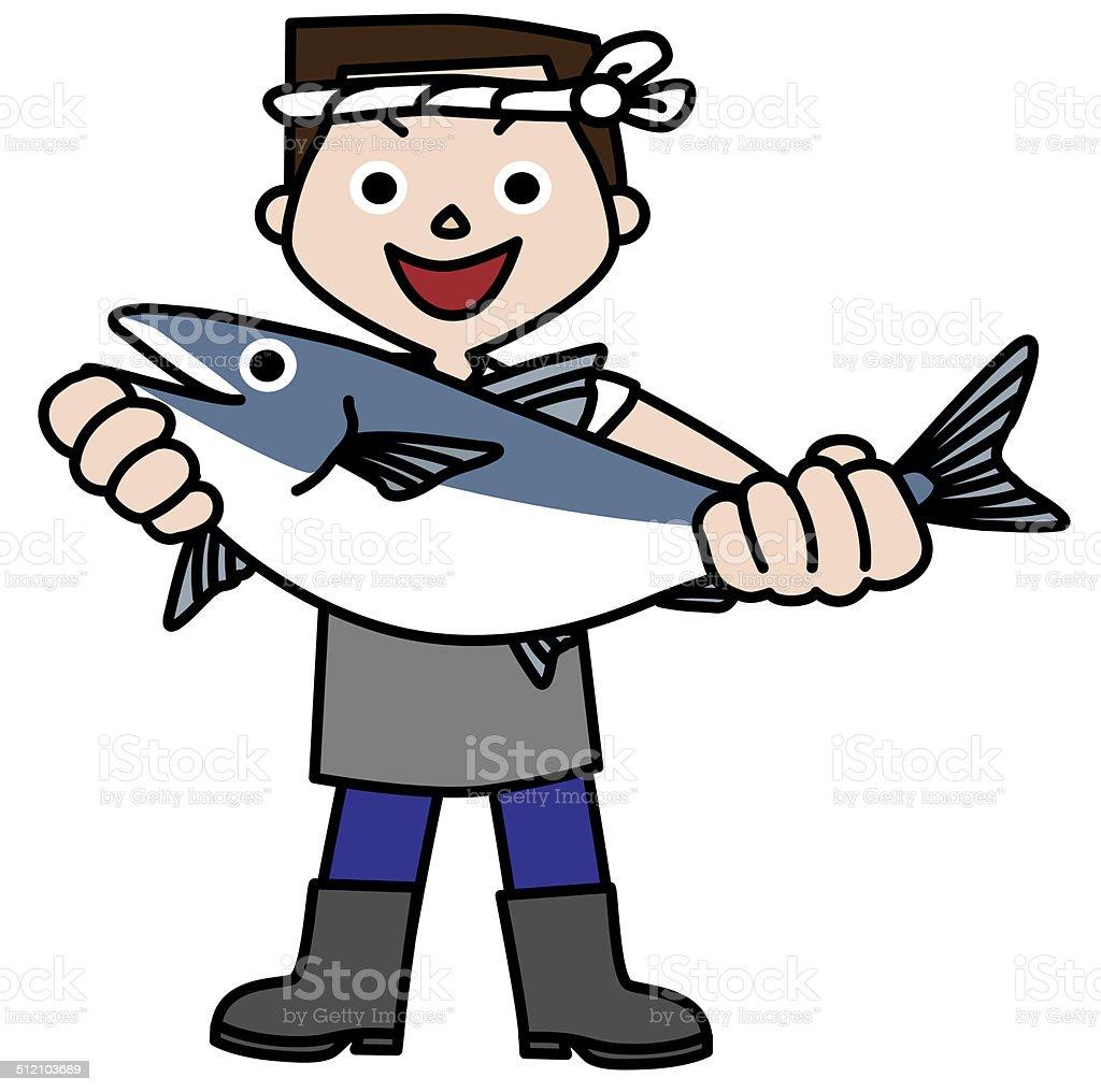 Fishmonger. Japan vector art illustration