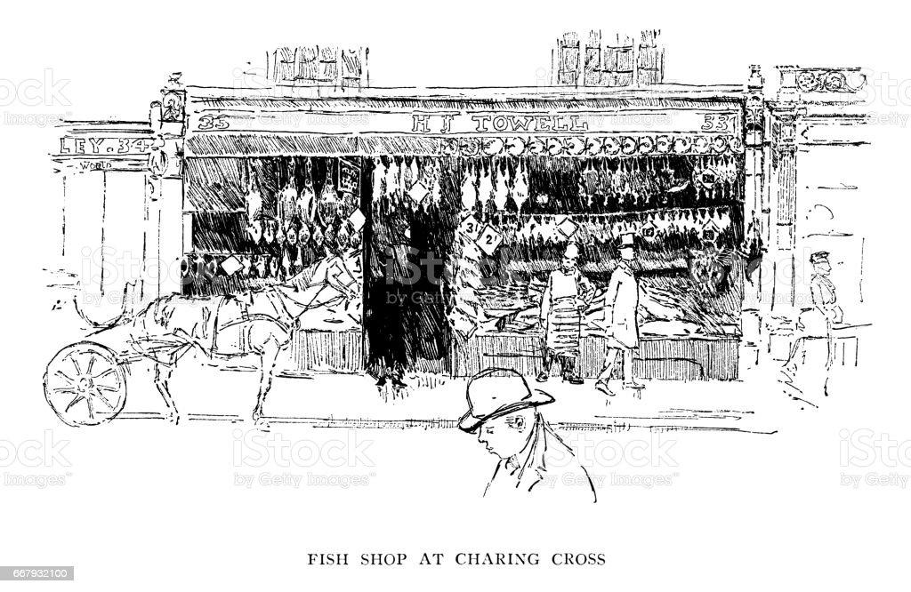 Fishmonger's shop in Charing Cross (Victorian illustration) vector art illustration
