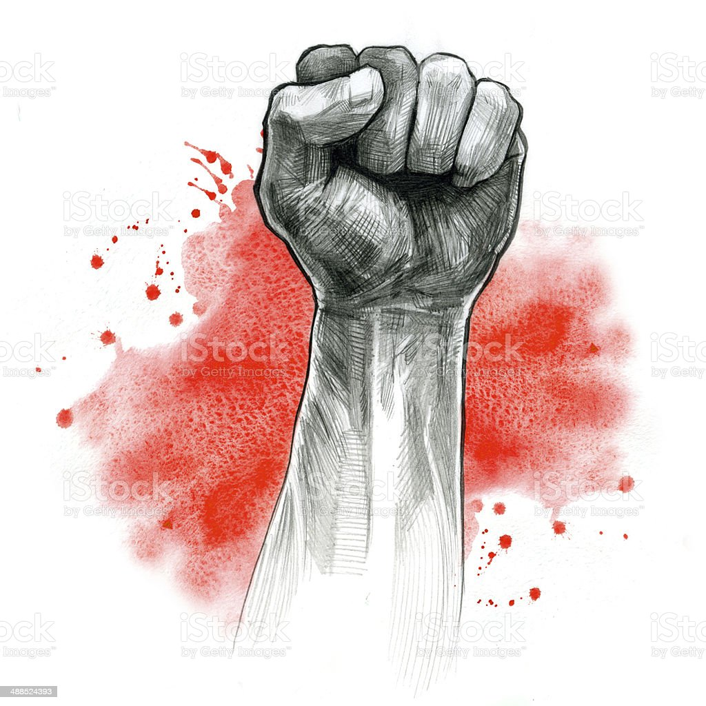 fist hand gesture vector art illustration