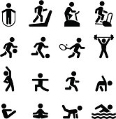 """""""Health club, gym and athletic icon set. Professional icons for your print project or Web site. See more in this series."""""""