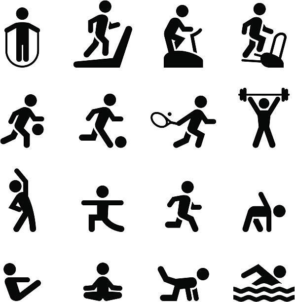 ilustrações, clipart, desenhos animados e ícones de ícones-preto série de ginástica - comodidades para lazer