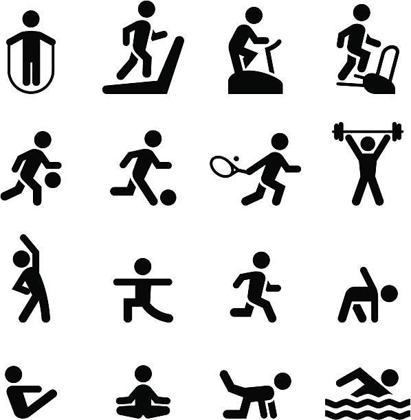 Fitness iconos de la serie Black - ilustración de arte vectorial