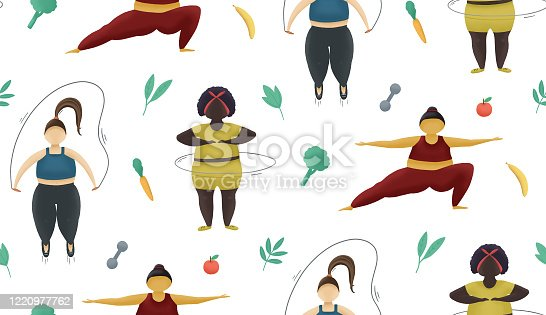 istock Fitness seemless pattern. Health sport training for fatty women. Girls with obese body 1220977762