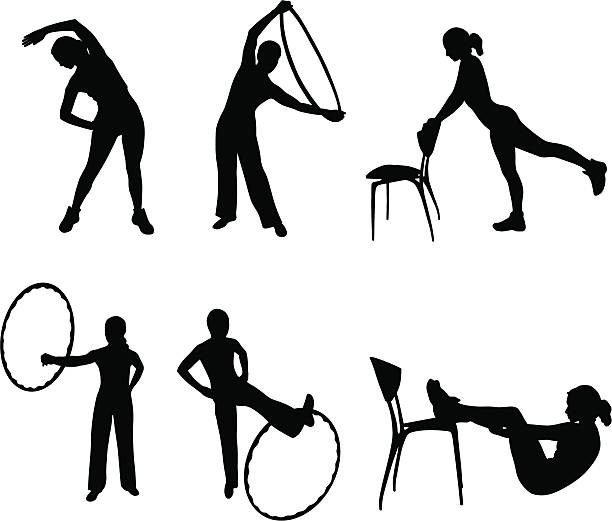 fitness silhouettes  active lifestyle stock illustrations
